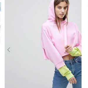 ASOS | NWT Hooded Cropped Sweatshirt Color Block
